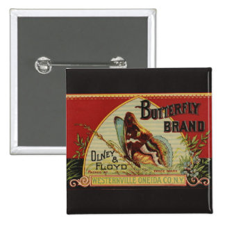 Vintage Butterfly Advertising Label 2 Inch Square Button