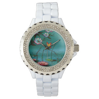 Vintage Butterfly and Flowers Watch