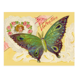 Vintage Butterfly and Heart Valentine Postcard