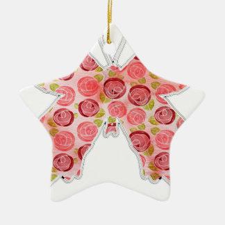 vintage butterfly ceramic star ornament