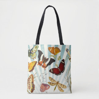 vintage butterfly collage tote bag