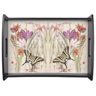 Vintage Butterfly Crocus Iris Flowers Serving Tray