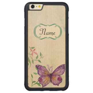 Vintage Butterfly Floral Carved Maple iPhone 6 Plus Bumper Case