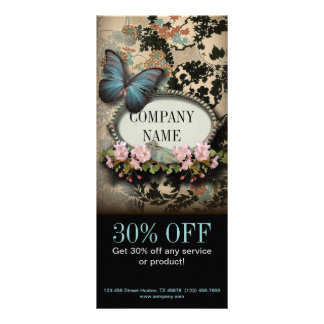 vintage butterfly floral girly beauty SPA fashion Rack Card