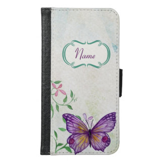Vintage Butterfly Floral Samsung Galaxy S6 Wallet Case