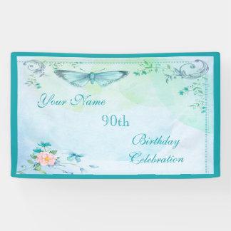 Vintage Butterfly, Flowers & Swirls 90th Birthday Banner