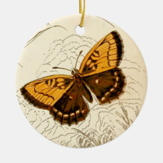 Vintage Butterfly Illustration, Gold and Brown Ceramic Ornament