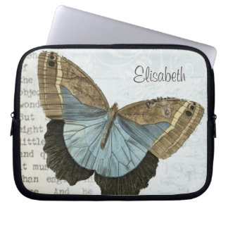 Vintage butterfly illustration name laptop computer sleeves