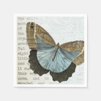 Vintage butterfly illustration paper napkins