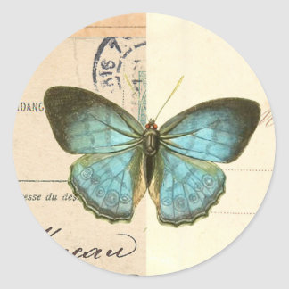 Vintage butterfly in blue beautiful trendy sticker
