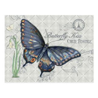Vintage Butterfly Kiss, Carte Postale Postcard