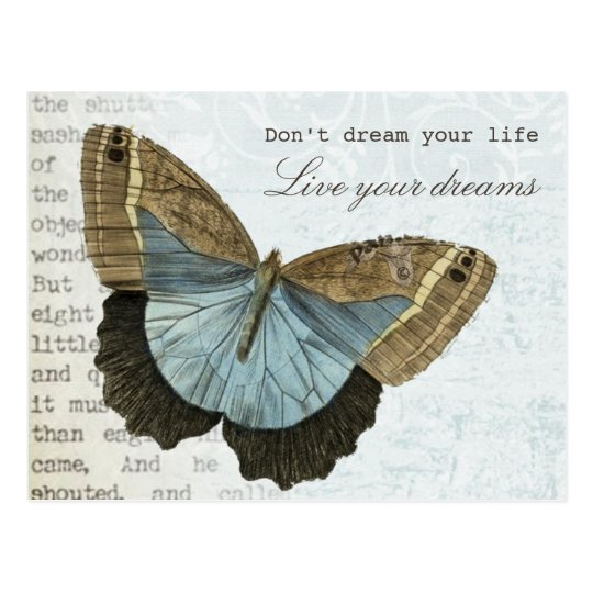Vintage butterfly positive inspirational quote postcard