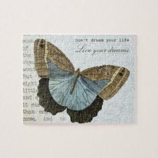 Vintage butterfly positive inspirational quote puzzles