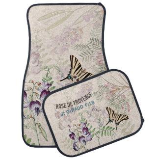 Vintage Butterfly Wildflower Flowers Floor Mats