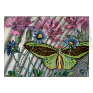 Vintage Butterfly with Flowers Collage Card