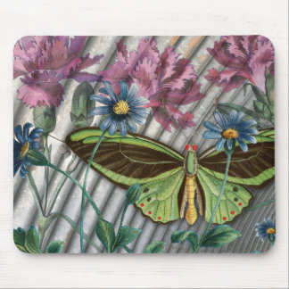 Vintage Butterfly with Flowers Collage Mousepad