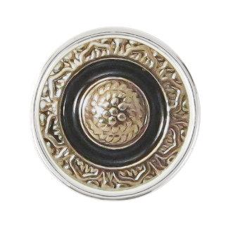 Vintage Button Lapel Pin Black Gold