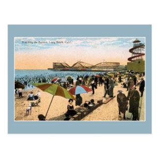 Vintage c 1910 Beach scene Long Beach CA Postcard