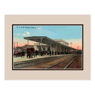 Vintage ca 1910 railroad station Elmira NY Postcard