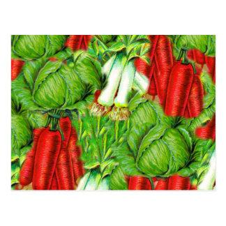 Vintage Cabbage Carrots & Leek Collage Veg Design Postcard