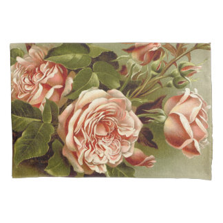 Vintage Cabbage Rose Flowers Floral Pillowcase