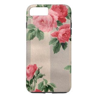 Vintage Cabbage Roses Wallpaper Print iPhone 7 Plus Case