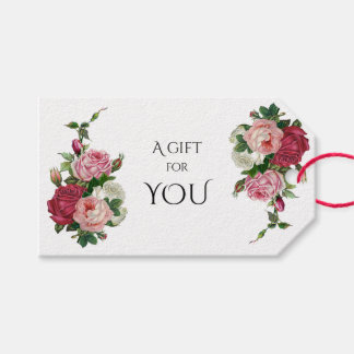Vintage Cabbage Roses-White Background Gift Tags
