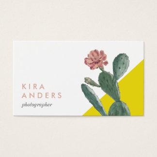 Vintage Cactus Colour Block Business Cards