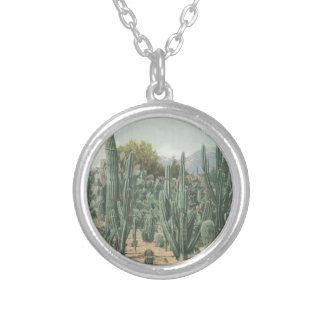 Vintage Cactus Silver Plated Necklace