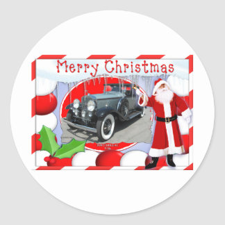 VINTAGE CADILLAC CHRISTMAS CARD ROUND STICKER