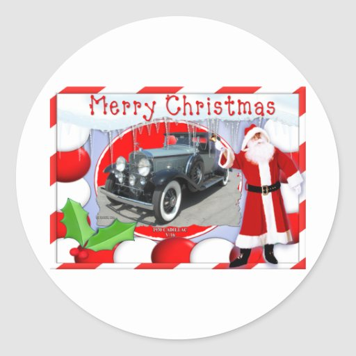 VINTAGE CADILLAC CHRISTMAS CARD STICKERS