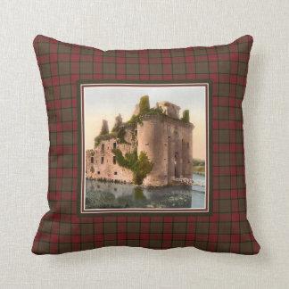 Vintage Caerlaverock Castle Clan Maxwell Tartan Throw Pillow