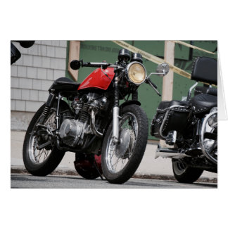 Vintage Cafe Racer Motorcycle Outdoors Notecard