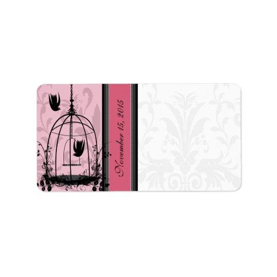 Vintage Cage Pink Bird & Black Damask Dots