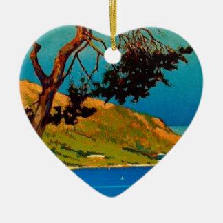 Vintage California Coast Travel Ceramic Heart Ornament