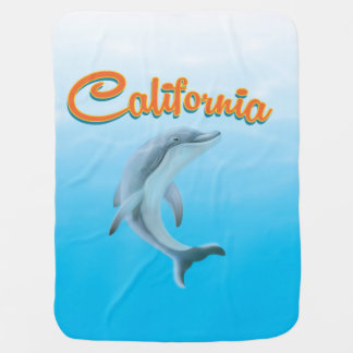 Vintage California Dolphin travel poster Baby Blanket