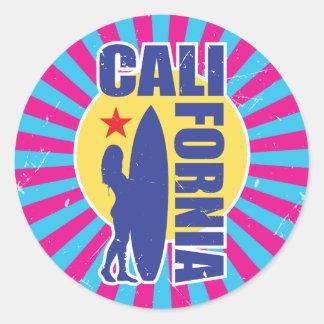 Vintage California Surfer Sunburst Round Sticker