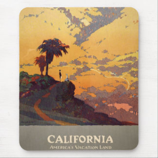Vintage California Tourism Poster Scene Mouse Pad