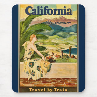 Vintage California Travel Advertisement Mouse Pad