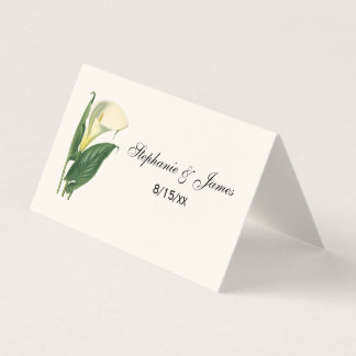 Vintage Calla Lily Escort Card Place Card Ivory
