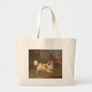 Vintage Calvalier King Charles Spaniel Painting Canvas Bag