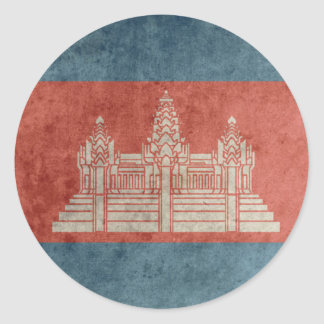 Vintage Cambodia Flag Classic Round Sticker