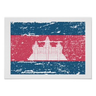 Vintage Cambodia Flag Poster