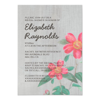 Vintage Camellia Bridal Shower Invitations