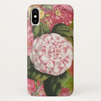 Vintage Camellia Collage Elegant Pink iPhone X Case