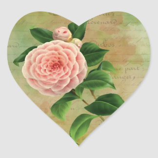Vintage Camellia French Botanical Heart Sticker