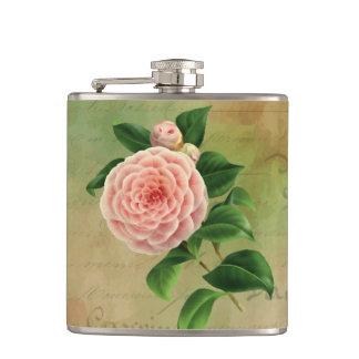 Vintage Camellia French Botanical Hip Flask