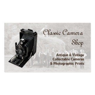 Vintage camera and photograph business card