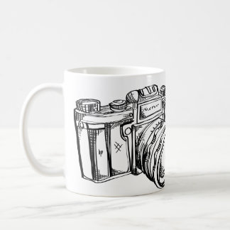 Vintage Camera Black and White Coffee Cup