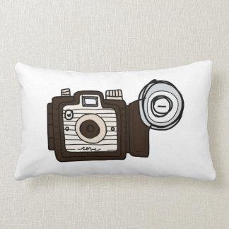 Vintage Camera brown with flash Lumbar Pillow